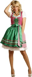 Dames Dirndl Diana Luxe Pink/Groen (50cm)