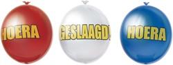 Ballonnen Hoera Geslaagd Rood/Wit/Blauw (10st)