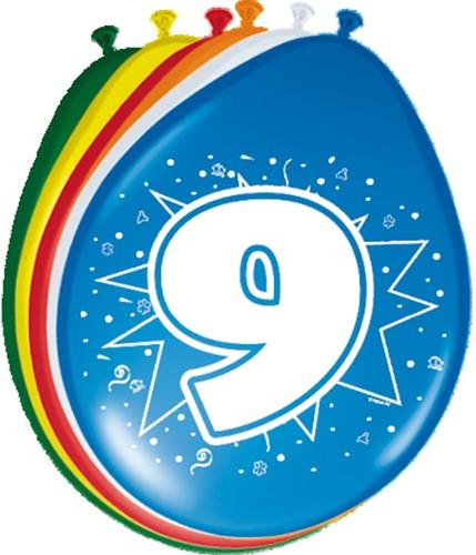 Ballonnen 9 jaar 8st