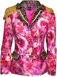 Carnavalsjas Roze Bloemen-Panter Kort voor dames