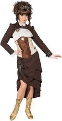 Damesjasje Steampunk Kort Bruin
