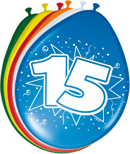 Ballonnen 15 jaar 8st