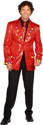 Heren Pailletten Colbert Rood met LED-verlichting