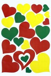 Raamsticker Hartjes Rood-Geel-Groen (35x50cm)