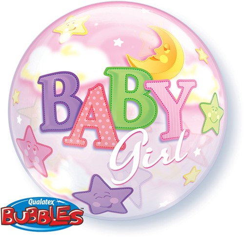 Bubble Baby Girl Moon Stars