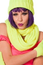 Gebreide Sjaal Rond Neon Geel