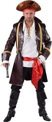 Heren Piratenjas Lederlook Bruin