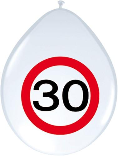 Ballonnen 30 jaar Verkeersbord 8st