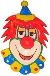Wanddeco Clown Hoofd met Rood Haar (70x45cm)