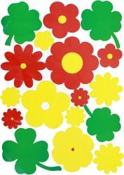 Raamsticker Bloemen Rood-Geel-Groen (35x50cm)