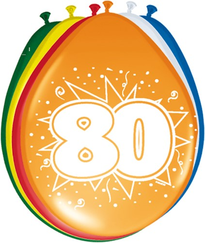 Ballonnen 80 jaar 8st