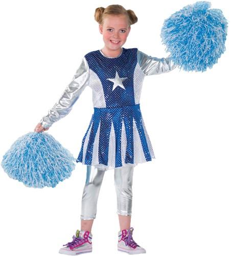 Meisjeskostuum Cheerleader Luxe Blauw