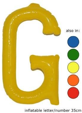 Opblaas Letter G 35cm Geel