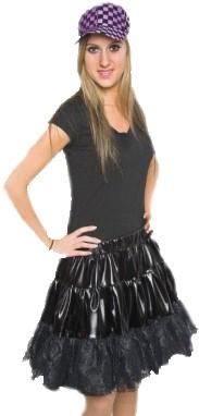 Rokje Satijn +Petticoat Zwart