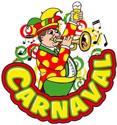 Raamsticker Carnaval-Muziekant Trompet (35x40cm)