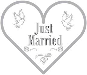 Servetten Just Married Hartvorm 20st