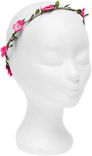 Bloemenhaarband Pink met Strass