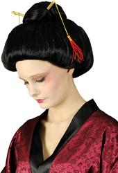 Pruik Geisha + Stokjes Zwart