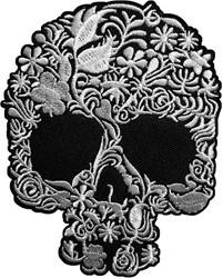 Applicatie Skull Zwart/Wit (12x8cm)